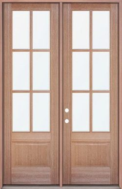"8'0"" Tall 6-Lite Low-E Mahogany Prehung Wood Double Door Unit"