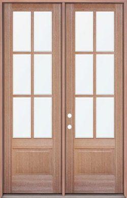 """8'0"""" Tall 6-Lite Low-E Mahogany Prehung Wood Double Door Unit"""