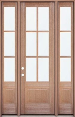 "8'0"" Tall 6-Lite Low-E Mahogany Prehung Wood Door Unit with Sidelites"