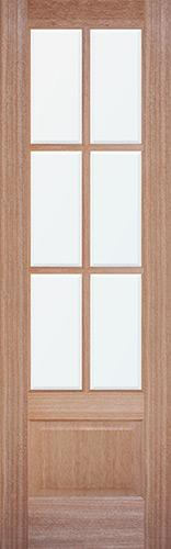"8'0"" Tall 6-Lite Low-E Mahogany Wood Door Slab"