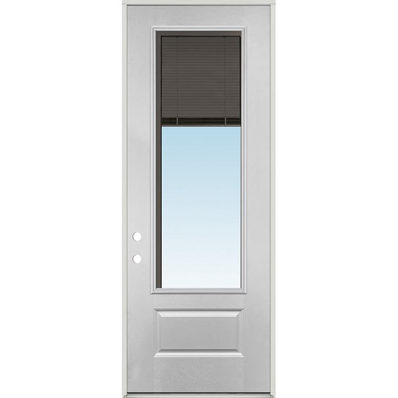 8 0 Tall 3 4 Lite Slate Mini Blind Fiberglass Prehung Door Unit Door Clearance Center